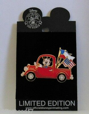 Disney Mickey Flags Displayed Back of Pickup Truck Americana Collection LE Pin