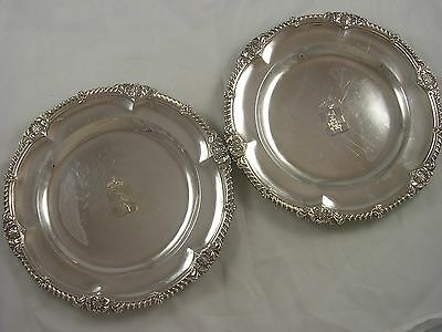 Quality PAIR 1901 Crested Victorian Higgins Silver Dinner Plates 1290 grams