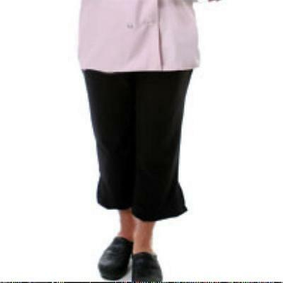 Fame Women's Fitted Yoga Style Capris Large Chef Pants Black Chefwear New