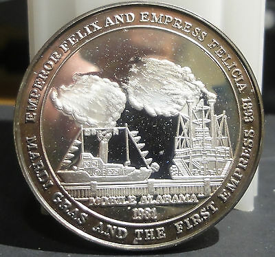 Mobile 1981 Krewe de Bienville .999 Silver Mardi Gras Doubloon~THE FIRST EMPIRES
