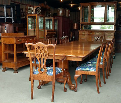 Antique Victorian Fancy Oak Dining Set – 15 Pcs Table, China, Server, 12 chairs
