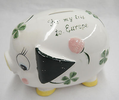 Vintage Piggy Bank My Trip to Europe Savings Green Shamrocks with Stopper 4""