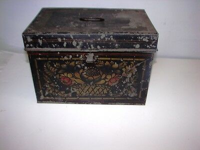 antique 19th c tole painted tin toleware document box orig paint decorated