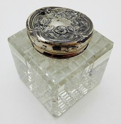 Antique Sterling Silver / Glass Inkwell