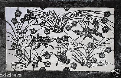 VINTAGE JAPANESE ISE KATAGAMI Fabric Stencil Art Paper - Goose Butterfly Flower