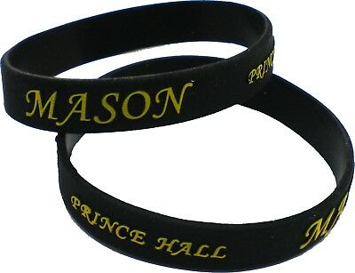 """Prince Hall Mason Embossed Silicone Wristband [Pack of 2 - Black - 8""""]"""