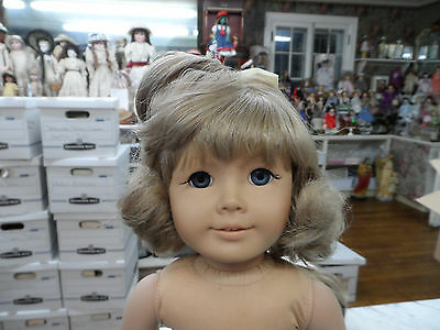 Replacement Wig For American Girl Bangs , Short Soft Curls W/ Bow Blonde