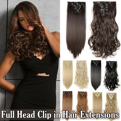 cheap price 8piece full head clip in hair extensions Real quality 18clip clip on