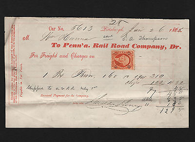 OPC 1-26-1865 Pennsylvania Rail Road Co. Receipt With Revenue
