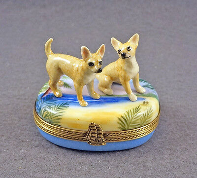 New French Limoges Trinket Box Chihuahua Dog Puppies On Tropical Beach