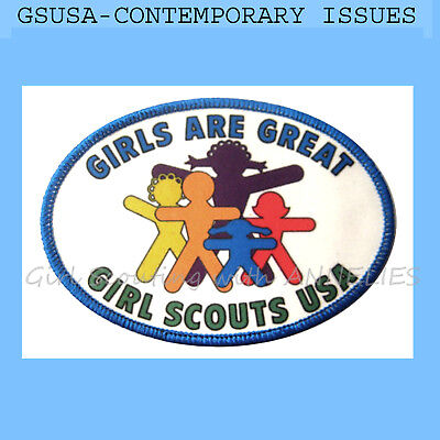1987 GIRLS ARE GREAT Scouts Patch Comtemporary Issues Silk-Screened Combine Ship