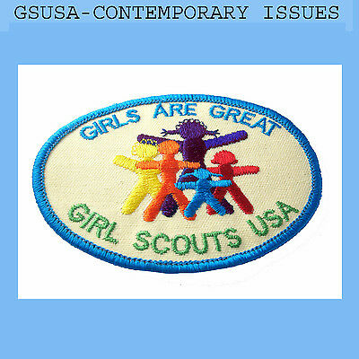 1987 GIRLS ARE GREAT Scouts Patch Comtemporary Issues Embroidered Combine Ship