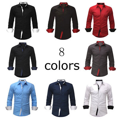 2017 Luxury Men's Shirts Long Sleeve Causal Slim Fit Formal Dress Shirt Tops
