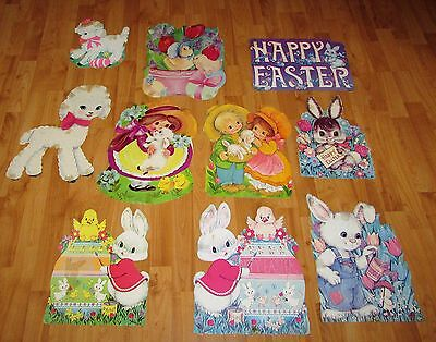 10 Vintage *AS IS* Easter Diecut Paper Decorations Bunnies Lamb Chicks Eureka