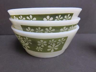 3 Fire King Anchor Hocking small  CRAZY DAISY OLIVE GREEN & WHITE Bowls