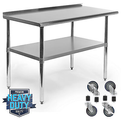 """Stainless Kitchen Restaurant Prep Table w/ Backsplash and 4 Casters - 24"""" x 48"""""""