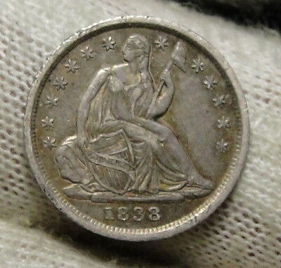 1838 Seated Liberty Half Dime H10C No Drapery - Nice Coin, Free Shipping (3702)