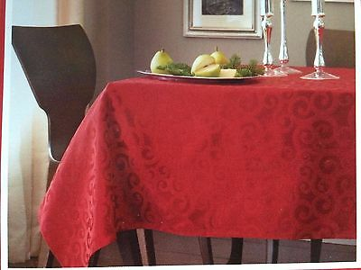 "60"" X 104"" Oblong Tablecloth Red Burgundy Christmas Holiday New"
