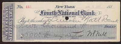 1897 Early New York Central Railroad Sleeping Car Company Bank Check