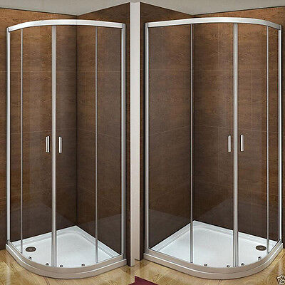 Aica Offset Quadrant Shower Enclosure & Tray Walk In Corner Cubicle Glass Door