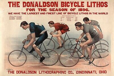 1890s Bicycle Racing - Donaldson Litho Advertising Poster - 20x30