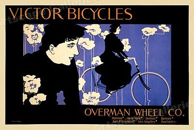 1890s Victor Bicycles Woman Riding Cycling Advertising Poster - 20x30