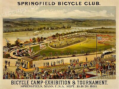 1880s Springfield Bicycle Club Vintage Style Cycling Poster - 18x24