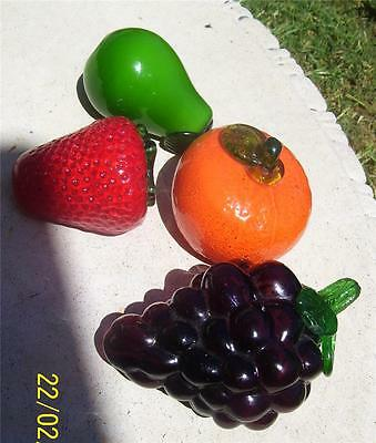 4 X Beautiful Vintage Glass Fruits