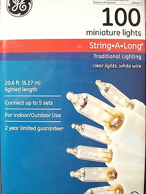 GENERAL ELECTRIC GE 100 CLEAR WHITE WIRE LIGHTS WEDDING PARTY  20.6 Ft  STRING