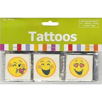 Smiley Face Temporary Tattoos (Pack Of 36) Emoji Emoticon Party Favours Prizes