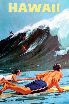 """Vintage Illustrated Travel Poster CANVAS PRINT ~ Hawaii surf surfing 18""""x12"""""""