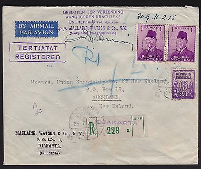 Indonesia 1951 Registered Cover to Union Steamship Company in New Zealand