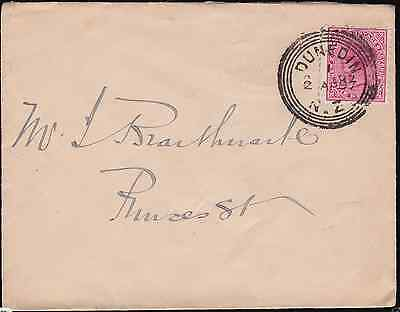 New Zealand 1897 Cover 1d SSF Dunedin Concentric Circle Cancel