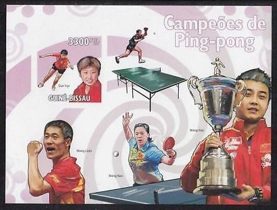 Table Tennis Guinea Bissau MNH imperf S/S stamp 2009