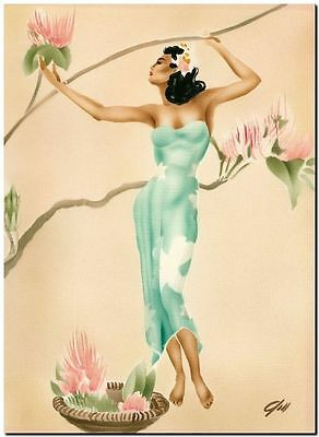 """Vintage Illustrated Poster CANVAS PRINT ~ Hawaii Girl flowers 18""""x12"""""""