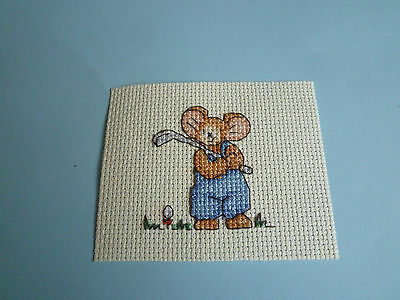 completed cross stitch topper...  mouse golfer