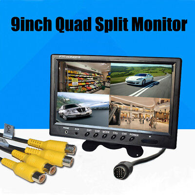 9 Inch HD 4 Video Input 4 Split Quad Video Display TFT LCD Car Rear View Monitor