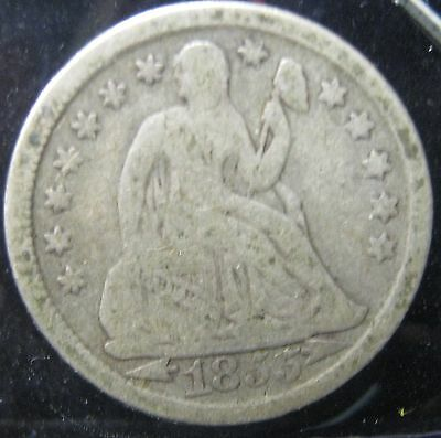 1855 Seated Dime - VF    P-221