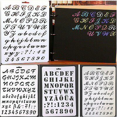 Craft Letter Alphabet Number Layering Stencils Scrapbooking Cards Painting DIY