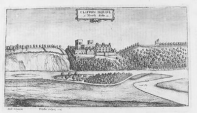 OLD ANTIQUE ETCHING CLIFTON HALL NOTTINGHAMSHIRE by W HOLLAR  / R HALL