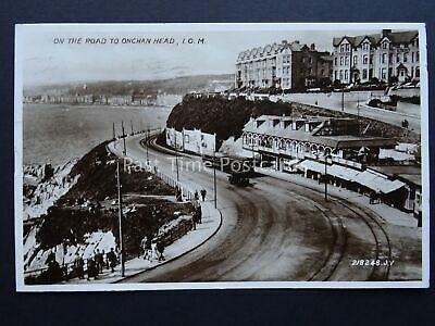 Isle of Man ON THE ROAD TO ONCHAN HEAD shows Tramway c1935 RP Postcard