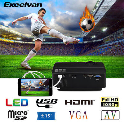 Excelvan Mini LED Proiettore Videoproiettore HD 1080P per Laptop PC Smartphone