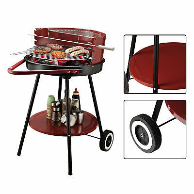 """Outsunny Φ21"""" Portable Charcoal Grill Outdoor Folding Barbecue Trolley BBQ"""