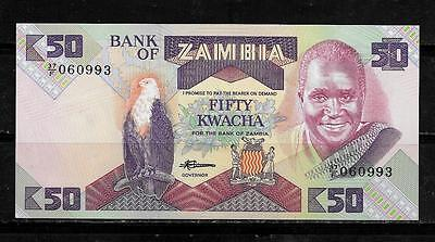 ZAMBIA #28a UNUSED MINT OLD 50 KWACHA CURRENCY BANKNOTE BILL NOTE  PAPER MONEY