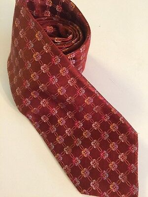 DANIEL MILANO Neck Tie Red 100% Silk Made in Italy Classic Floral