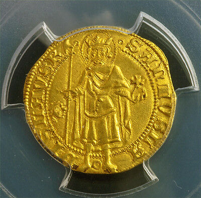 1382, Kingdom of Hungary, Louis I. Rare Gold Gulden (Ducat) Coin. PCGS MS-64!