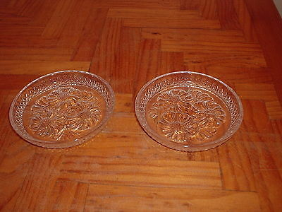 2 x CLEAR GLASS DAISY DECORATION PIN DISH PAIR OF DISHES