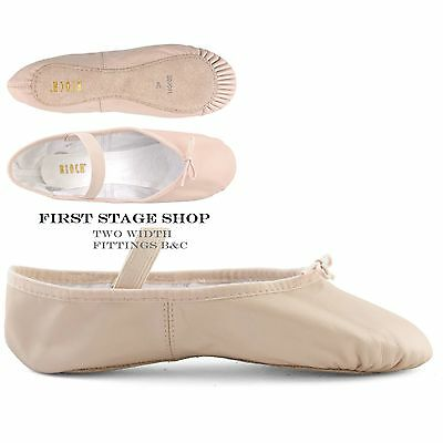 Bloch Pink Leather Full Sole Ballet Shoes with attached elastics Arise S0209