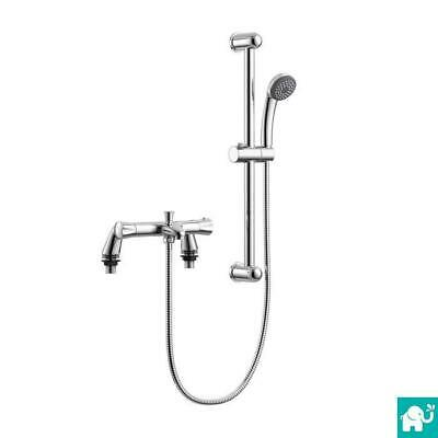 Bath Shower Mixer Thermostatic Valve Tap Dual Round Over Head Bathroom Kit