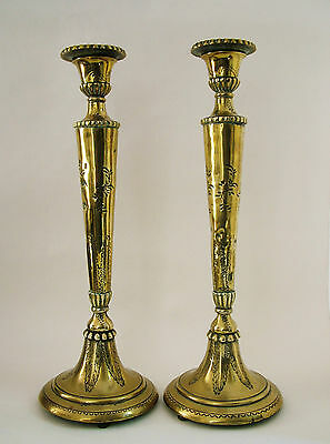 Antique Pair Tall Middle Eastern Brass Candlesticks, Signed (?)